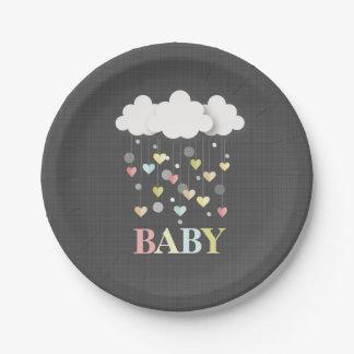 Assiettes En Papier Nuages + Baby shower de neutre de coeurs