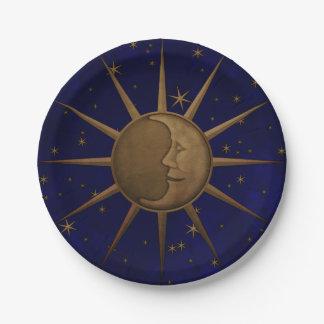 Assiettes En Papier Nuit étoilée de lune céleste de Sun