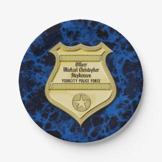 Assiettes En Papier Obtention du diplôme de police d'insigne/partie de