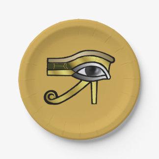 Assiettes En Papier Oeil d'or de Horus