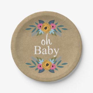 Assiettes En Papier Oh bébé ! Baby shower floral rustique de guirlande