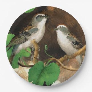 Assiettes En Papier Oiseau de chanson de chute de plaque à papier joli