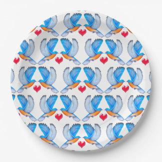 Assiettes En Papier Oiseaux bleus des plaques à papier de bonheur