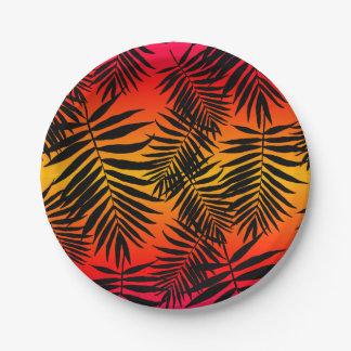 Assiettes En Papier Ombre tropicale de feuille de palmier l'été de