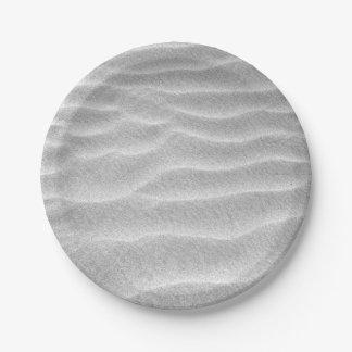 Assiettes En Papier Ondulations noires et blanches de sable