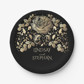 Assiettes En Papier Or et mariage floral vintage noir