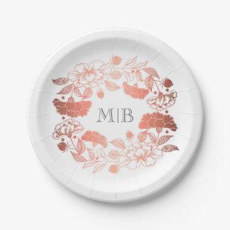 Assiettes En Papier Or rose élégant et blanc de guirlande florale de