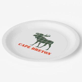 Assiettes En Papier Orignaux bretons de plaid de tartan de cap de