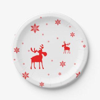 Assiettes En Papier Orignaux rouges et flocons de neige rouges -