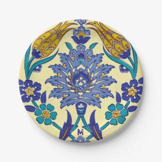 Assiettes En Papier Ornement en céramique de cru de style d'Azulejo de