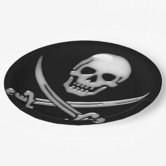 Assiettes En Papier Os croisés de crâne et d'épée de pirate (TLAPD)