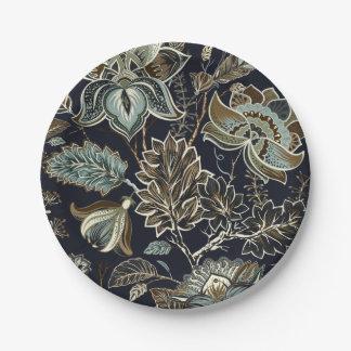 Assiettes En Papier Paisley antique fleurit le motif noir d'arrière -