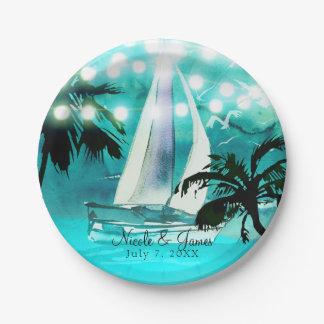 Assiettes En Papier Palmiers de voilier d'aquarelle et lumières de