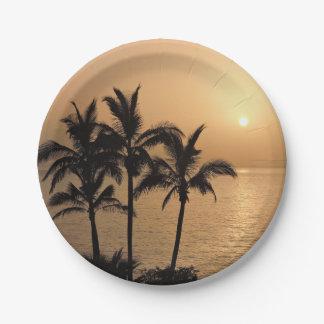 Assiettes En Papier Palmiers et coucher du soleil romantique