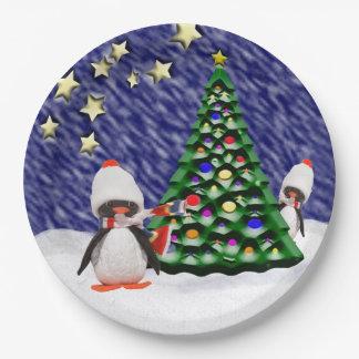 Assiettes En Papier Paradis adorable de Noël d'ornement de pingouin