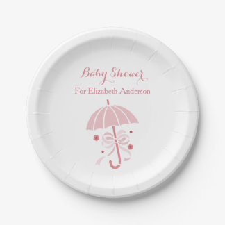 Assiettes En Papier Parapluie rose mignon de baby shower Girly avec