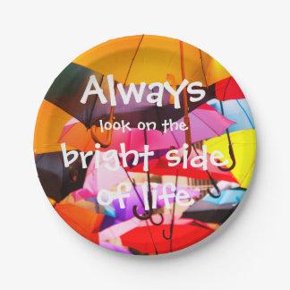 Assiettes En Papier Parapluies/toujours regard du bon côté de la vie