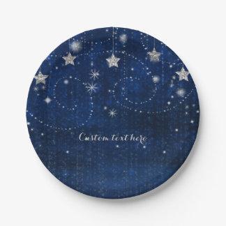 Assiettes En Papier Partie céleste étoilée bleue et argentée lumineuse