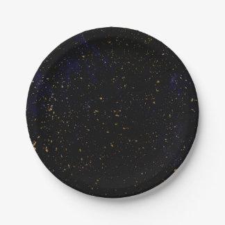 Assiettes En Papier Partie cosmique bleue pourpre chic moderne