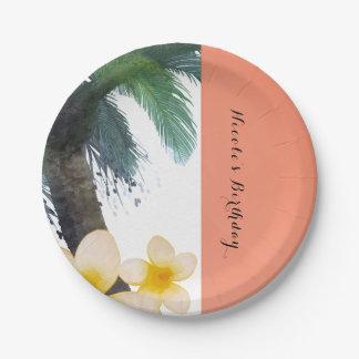 Assiettes En Papier Partie tropicale orange d'été de palmier et de