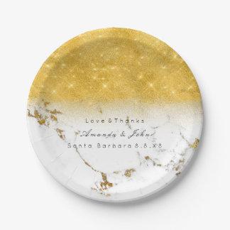 Assiettes En Papier Parties scintillantes d'or en pierre de marbre