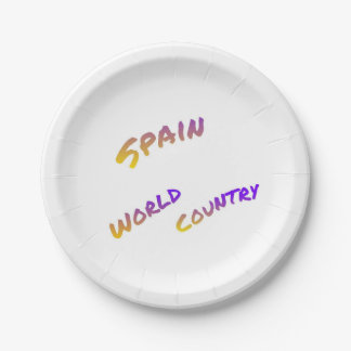 Assiettes En Papier Pays du monde de l'Espagne, art coloré des textes