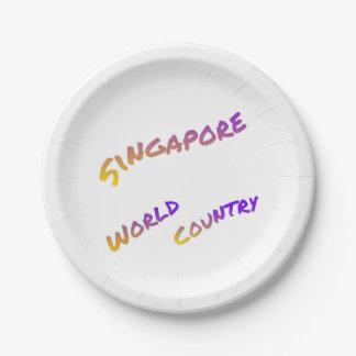 Assiettes En Papier Pays du monde de Singapour, art coloré des textes