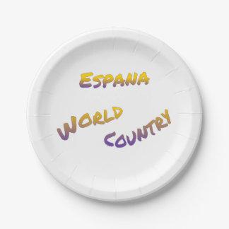 Assiettes En Papier Pays du monde d'Espana, art coloré des textes