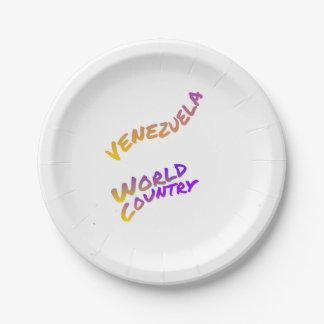 Assiettes En Papier Pays du monde du Venezuela, art coloré des textes