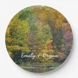Assiettes En Papier Paysage d'automne du pont II d'automne de sept