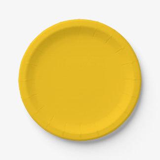 Assiettes En Papier Personnaliser ambre de couleur solide il