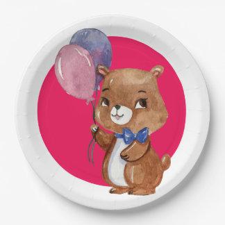 Assiettes En Papier Petit ours mignon avec deux ballons
