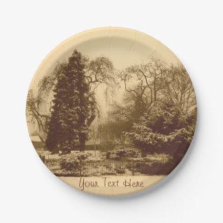 Assiettes En Papier photo originale de sépia de paysage de parc de