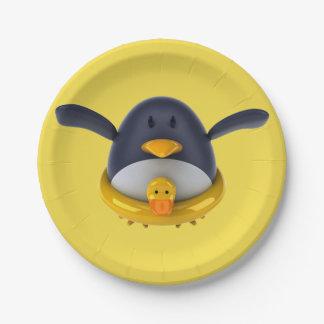 Assiettes En Papier Pingouin avec les plaques à papier d'un canard en
