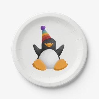 Assiettes En Papier Pingouin de joyeux anniversaire