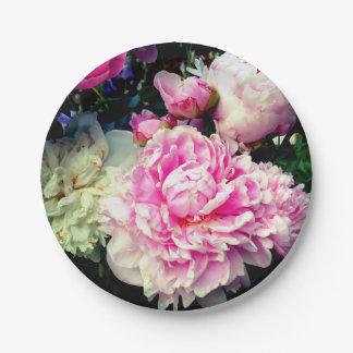 Assiettes En Papier Pivoines roses et blanches