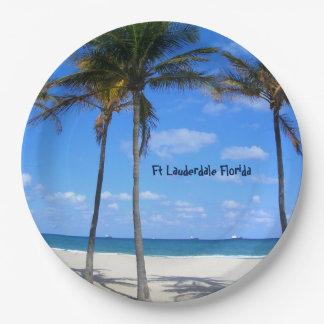 Assiettes En Papier Plage et palmiers de sable de pi Lauderdale la
