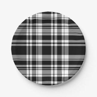 Assiettes En Papier Plaid noir et blanc