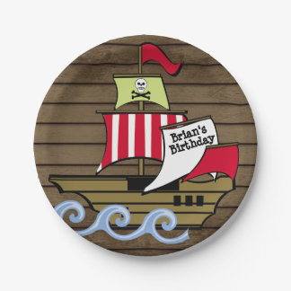 Assiettes En Papier Planches de bateau et en bois de pirate
