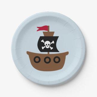 Assiettes En Papier Plaque à papier avec le bateau de pirate