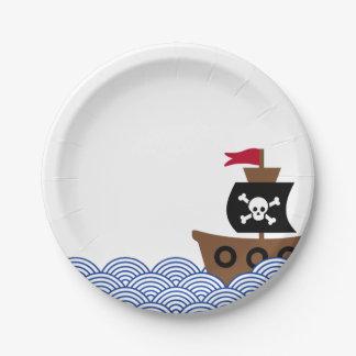 Assiettes En Papier Plaque à papier avec le bateau de pirate et le