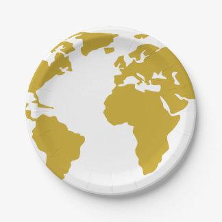 Assiettes En Papier Plaque à papier - carte du monde d'or