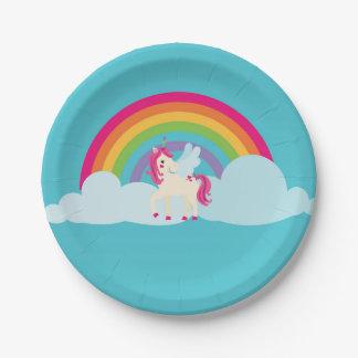 Assiettes En Papier Plaque à papier d'arc-en-ciel rose de licorne