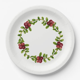Assiettes En Papier Plaque à papier de baie rouge d'Alaska