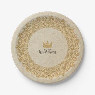 Assiettes En Papier Plaque à papier de couronne sauvage de chose