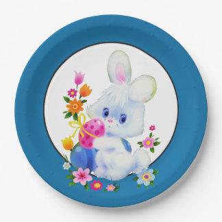 Assiettes En Papier Plaque à papier de fête de vacances de lapin de