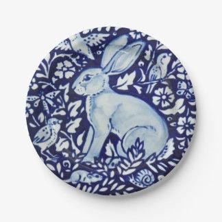 Assiettes En Papier Plaque à papier de jardin blanc de lapin de bleu