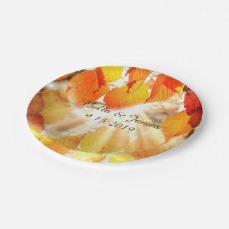 Assiettes En Papier Plaque à papier de mariage de automne de feuille