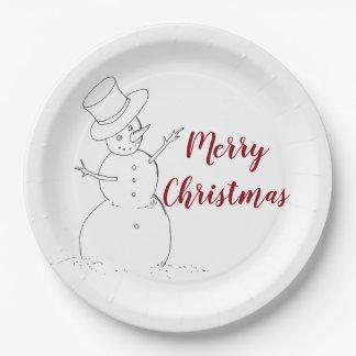 Assiettes En Papier Plaque à papier de Noël de bonhomme de neige