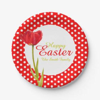 Assiettes En Papier Plaque à papier de Pâques de partie rouge heureuse